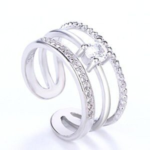 925 Silver Zircon Adjustable Ring.
